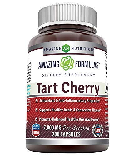 Amazing Formulas Tart Cherry Extract 7000 Mg per Serving 200 Capsules (Non GMO,Gluten Free) -Antioxidant Support-Promotes Joint Health & a Proper Uric Acid Level Balance
