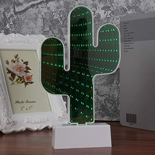 LEDMOMO Spiegelfläche USB Tunnel Lampe Kaktus Form LED Nachtlicht Dekoration Licht Zeichen (ohne Batterien)