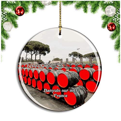 Weekino Banyuls-Sur-mer Francia Terres Des Templiers Decoración de Navidad Árbol de Navidad Adorno Colgante Ciudad Viaje Colección de Recuerdos Porcelana 2.85 Pulgadas