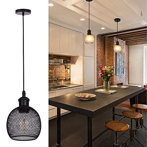 TWSXTE Apliques colgante vintage, luz de techo retro, iluminación rusticos interior LED, lámpara de cocina, sala, comedor, dormitorio, decoración de cuerda ajustable E27enchufe