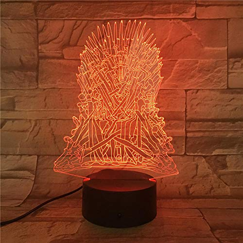 Luz nocturna LED 3D, creativa 3D, trono de hierro con ilusión 3D, regalos de cumpleaños para niños y amigos, con control remoto de 16 cambios de color