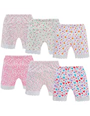 Anktry 2-12 Years Girl's Solid Color Lace Trim Boyshort Underwear Safety Dress Panties 6-Pack