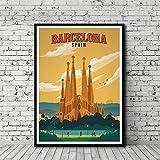 HNTHBZ Leinwand-Malerei Vintages Reise-Plakat Barcelona