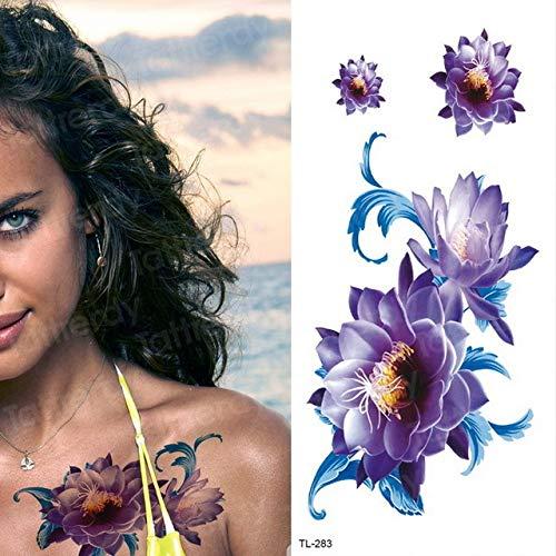 Handaxian 3pcsFemale Creative Fleur Autocollant de Tatouage Tattoo Body Tattoo Art Planète étanche Tatouage Enfant Durable