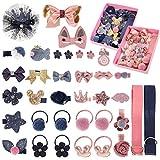 SUSSURRO 18 pièces bébé pince à cheveux lot de 2, coffret cadeau petite fille mignon pinces à cheveux cravates arcs accessoires de cheveux assortis pour petites filles bébé enfants