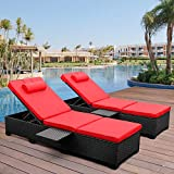 Outdoor PE Wicker Chaise Lounge - 2 Piece Patio Black Rattan Reclining...