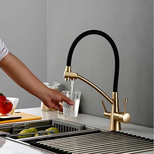 Grifo Color Oro Viejo Osmosis Inversa Tri Flow Filtro De Agua Grifo Mezclador De Fregadero De 3 Vías Cocina De Tres Vías Apague El Grifo