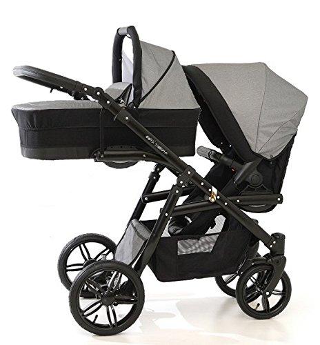 Carro doble niños diferentes edades. 2 sillas + 1 capazo. Onyx Tandem BBtwin cochecito gemelar (gris)