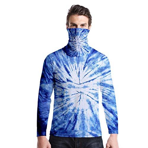 T-Shirt À Manches Longues,Casual Long Sleeve Round Neck Imprimé Tie Dye Bleu Forêt Tourbillon Unisex T-Shirt Tops Imprimé Chemisier Body Shirt avec Écharpe Hommes Femmes Automne Hiver Pullover