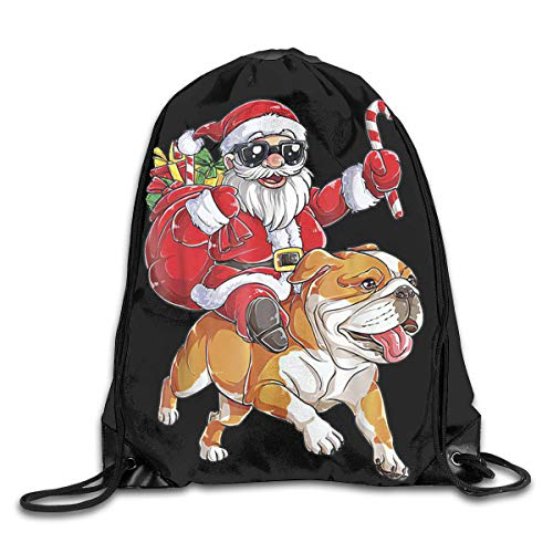 Drawstring Backpack,English Bulldog Dog At Christmas Santa Cool Drawstring Swim Bag,Practical Portable Drawstring Bags For Adults Boys Girls,36x43cm