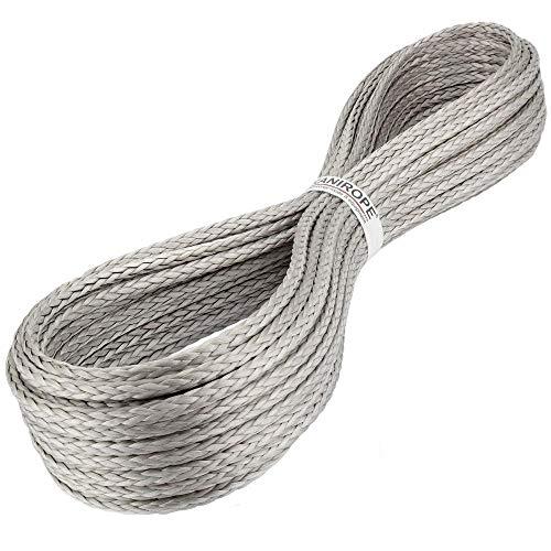 Kanirope® Dyneema Seil PRO 4mm 20m Silber 12-fach geflochten SK78 verstreckt beschichtet