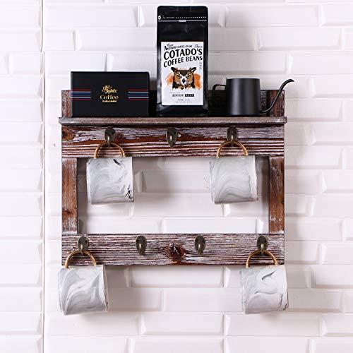 Wall Mounted Cup Rack with Shelf,Coffee Mug Holder Wood Cup Organizer with 7 Hooks (Wood)