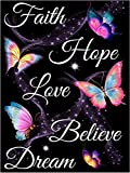 Diamond Painting Kits for Adults, 5D Diamond Painting Butterfly Text Art DIY Round Full Diamond Mosaic Set Crafts, Valentine's Day Gift 11.8x15.7 inches