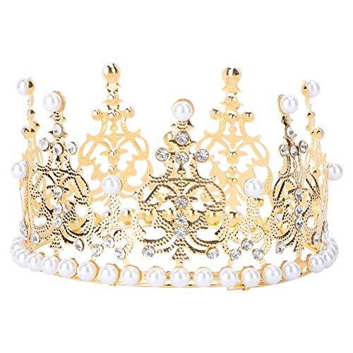 Angoily Crown Cake Topper Rhinestone della Perla del Diadema del Bigné Topper Vintage Royal Queen Principessa Dolce Foto Ornamenti per per Il Bambino Doccia da Sposa Decorazione