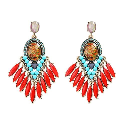 FEARRIN Pendientes Joyas de Moda Coloridas Flores de Rhinestore Pendientes Colgantes Encantadores Pendientes geométricos de Gota de Agua para Mujer Regalo de joyería de Fiesta de león 13657