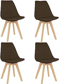vidaXL 4X Sillas de Comedor Asiento Mobiliario Muebles Cocina Salón Sala de Estar Escritorio Acolchado Suave Respaldo Decoración de Tela Marrón