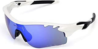 Iddefee Riding Glasses Fashion Men and Women Polarized Glasses Outdoor Sports Glasses UV Sunglasses Goggles Sports and Leisure Mirror Racing Goggles (Color : White Black)