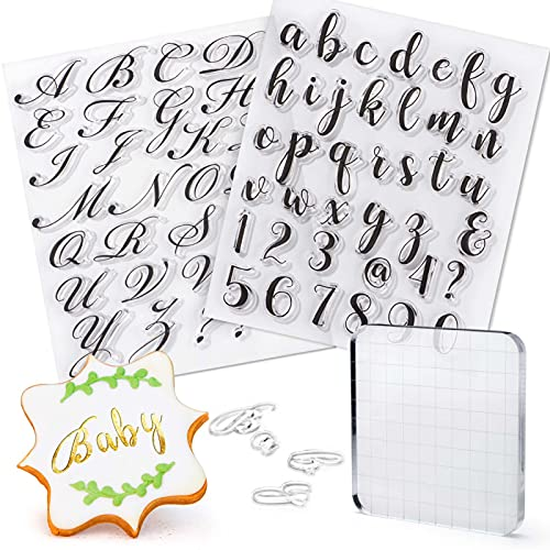 FANGSUN Alphabet Letter Fondant Stamps for Cookie Biscuit Cake Decorating, Cookie Stamp Impress, Cupcake & Cookie Stamping, Uppercase, Lowercase, Numbers Fondant Embosser Press Mold Baking Tool (A)