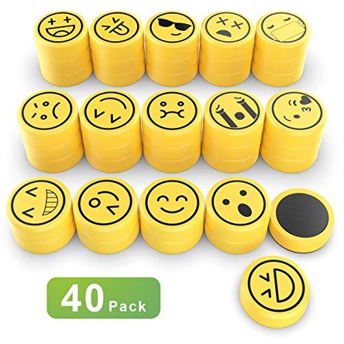 Lesfit Emoji Magneten für Büro Magnettafel Whiteboard pinnwand, Kühlschrankmagnete Küche Kühlschrank Deko (40Set-2.5cm) (40Set)