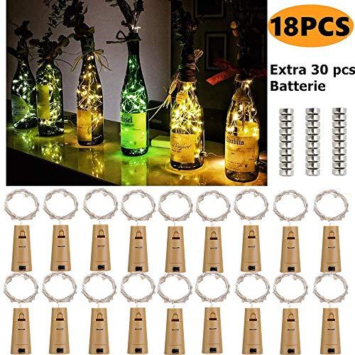 Luci per Bottiglia con Batteria, 18 pezzi 2M 20 LEDS Lampada a fili di Rame Fatata Decorative Stringa Luci da Interni e Esterni per Festa, Giardino, Natalizie, Halloween, Matrimonio(Bianco Caldo)