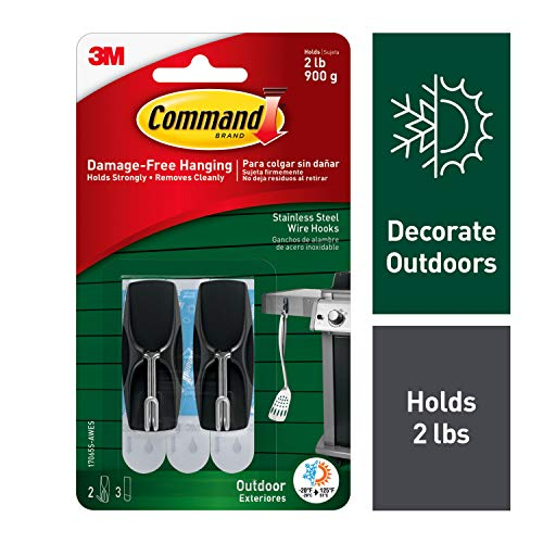 Command Outdoor Stainless Steel Toggle Hooks, 2 lb. Capacity, Decorate Damage-Free, Water-Resistant Adhesive, 2-Hooks, 3-Strips (17065S-AWES)
