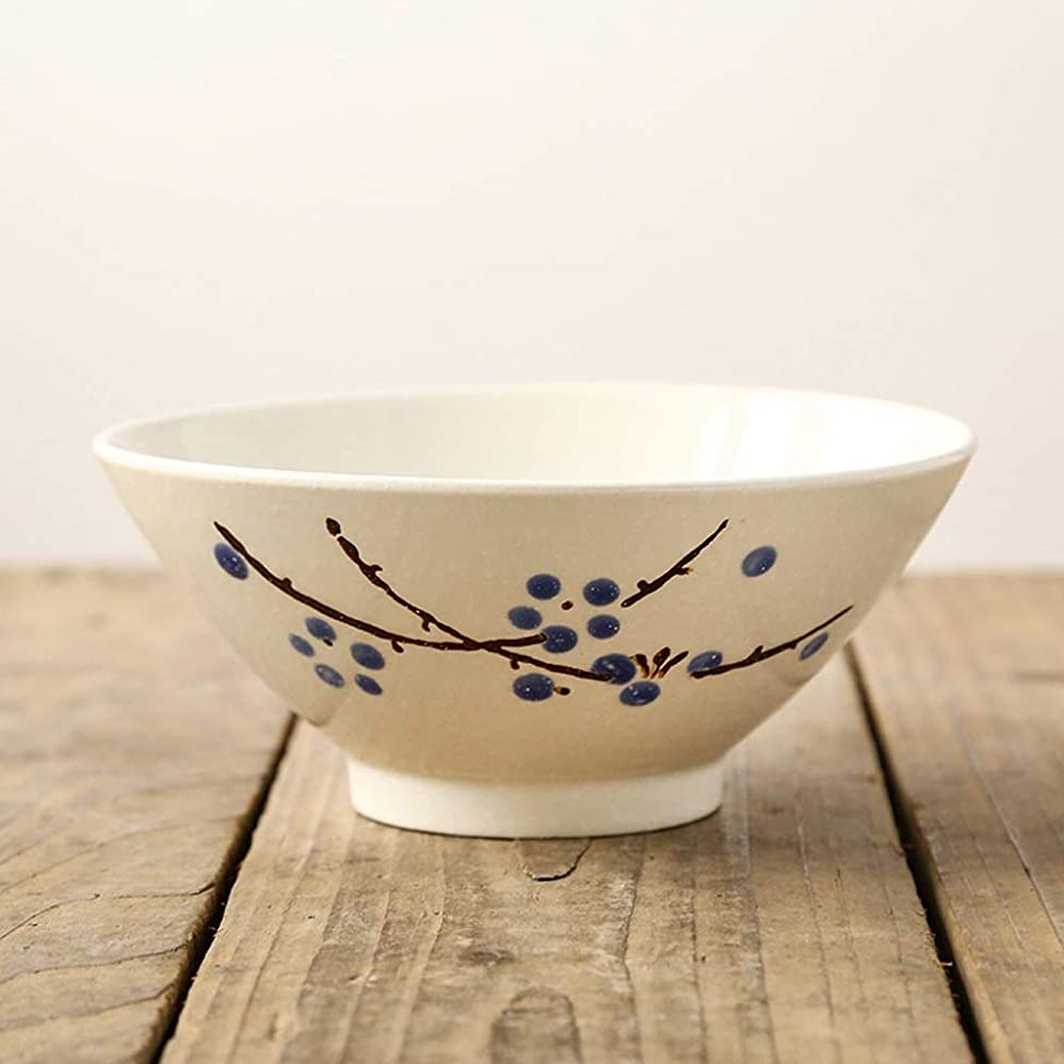 Xuan Yuan Japanese Style and Wind Ramen Bowl 7 inch Japanese Restaurant Hotel Eating Noodle Bowl Large Bucket Bowl Creative Ceramic Tableware - 4 Colors Bowl (Color : Blue Plum)