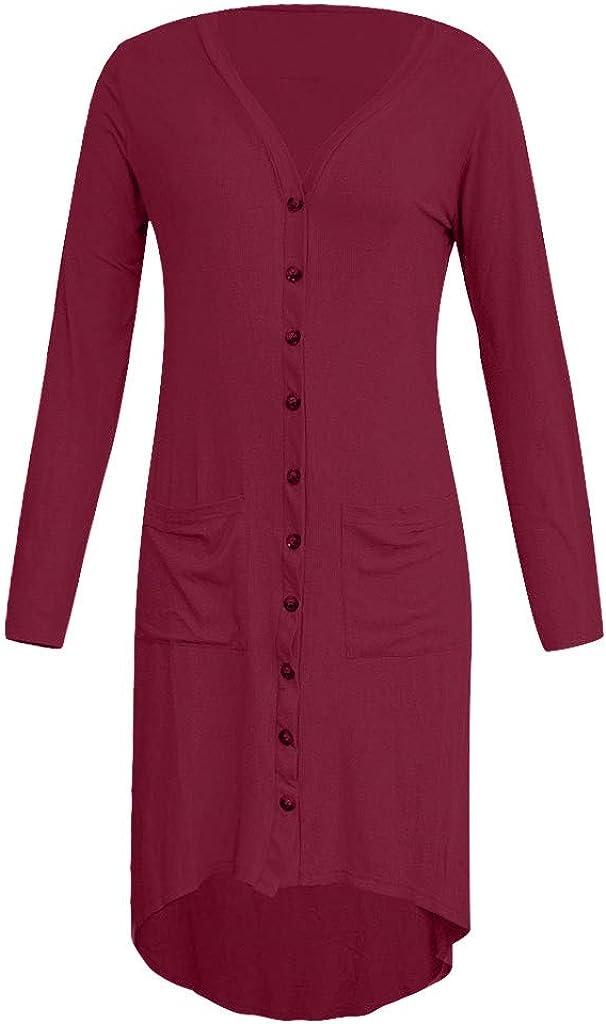 Women Button Down Long Cardigans Long Sleeve Draped Cardigan Coat Irregular Hem Shrugs Shawl Lightweight Jacket