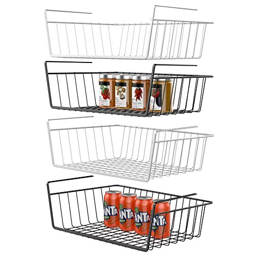 GSlife Under Shelf Basket, 4 Packs Under Shelf Wire Basket Stable Under Cabinet Basket Wire Storage Basket for Kitchen Office Pantry Bathroom