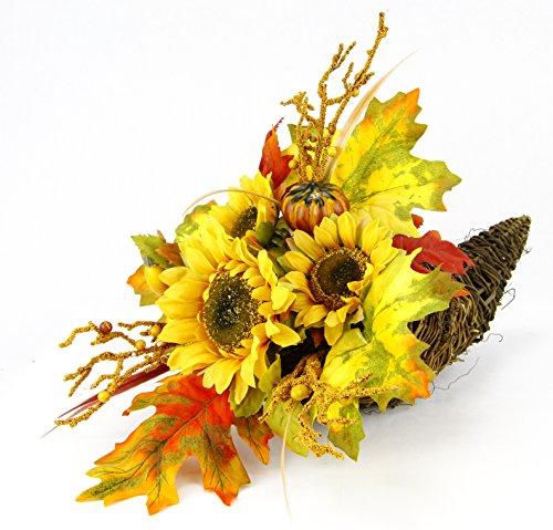 Flair Flower Arrangement Sonnenblume im Horn, Stoff, gelb/orange, 38 x 20 x 18 cm