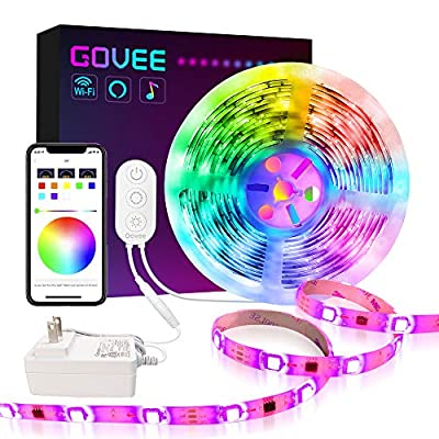 Govee Dreamcolor Led Strip Lights Compatible with Alexa Google Home Music Sync Waterproof WiFi Wireless Phone Control Color Changing for Party Room Bedroom TV Kitchen 16.4ft/32.8ft