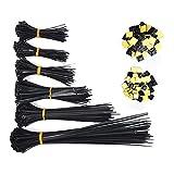 ATPWONZ 700pcs Cables Organizador - 600 pcs Bridas y 100pcs Soportes Autoadhesivos Superglue 5 Tamaños Diferentes 80/100/120/150/200/300 mm (Negro)