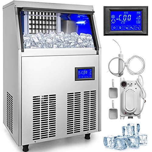 VEVOR 40kg Kommerzielle Eismaschine 220V Eiswürfelbereiter Kommerzielle Eiswürfelbereiter Edelstahl mit LCD Bildschirm