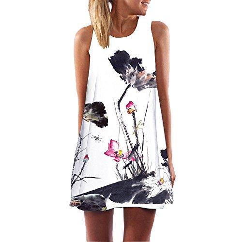 Momoxi Damen Rockabilly Mini Kleid Cocktailkleid, Boho Mädchen Sommer Ärmel 3D Blumendruck Boho Panzer Lässig Lotus-Musterrock Partykleid Jersey-Kleid Weiß M