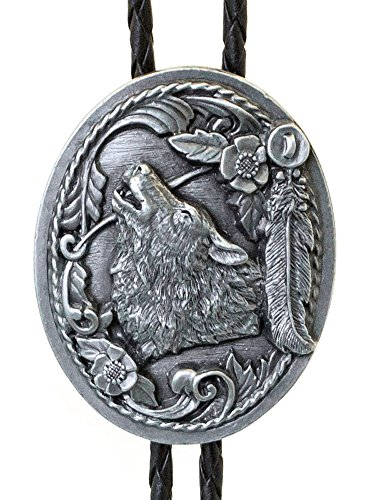 Sunrise Outlet Men's Western Bolo Tie Wolf Head with Feathers with Black Leatherette - 18 inch hang