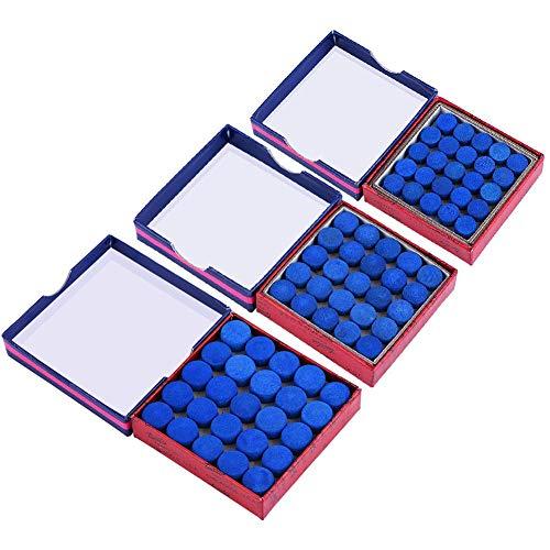 VGEBY Puntas de Taco de Billar, Puntas de Taco de Billar de Billar de una Sola Capa con Pegamento Azul (50 cápsulas en una Caja)(13mm)