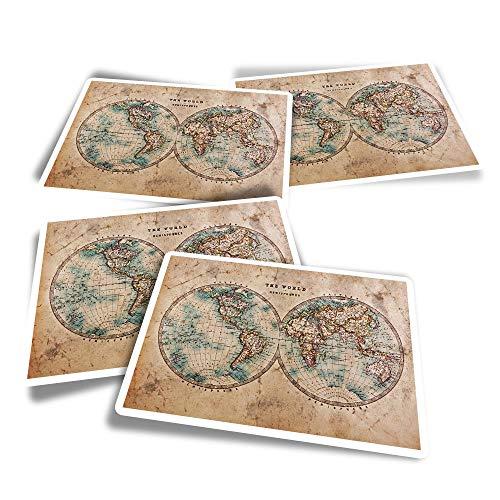 Pegatinas rectangulares de vinilo (juego de 4) – World Hemispheres – Pegatinas divertidas para portátiles, tabletas, equipaje, reserva de chatarra, neveras #14392
