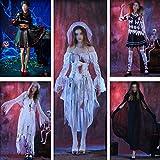 ZHYX Disfraz De Vampiro para Niñas Conjunto Halloween Gótico Victoriana Vampiresa Reina Fiesta De Disfraces,C-OneSize