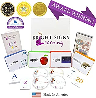 Bright Signs Learning Early Reading & Sign Language Program for Babies, Toddlers, and Preschoolers- Phonics, Sight Words, Flashcards
