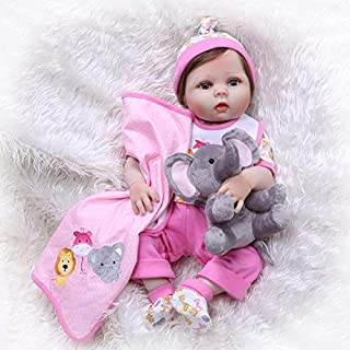 Binxing Toys Reborn Baby Dolls Silicone Full Body Girl 22 inch 56cm Real Toddler Bebe Doll Waterproof with ( Bottle Toy, Magnet Pacifier ,Clothes ,Puppet Toy Safety Tested for 3+ (Realistic)