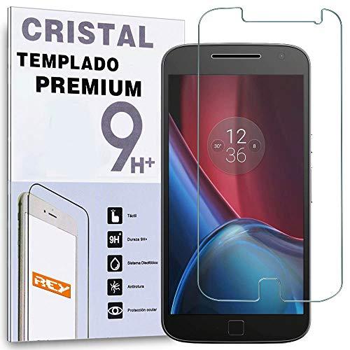 REY Protector de Pantalla para Motorola Moto G4 Plus 4th, Cristal Vidrio...