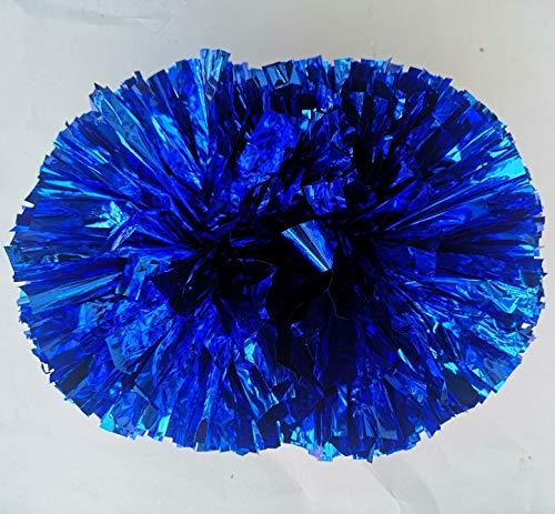 Egurs 2 Stück Cheerleading Pompons Cheerleader Metallic Pom Poms Sport Zubehör für Cheer, Tanzen Team,Party, Aerobic Cheerleading Blau M