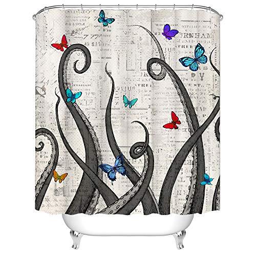 RyounoArt Octopus Duschvorhang mit grauen Tentakeln um rot blaugrün Schmetterling auf alten Buchstaben Postkarten Muster Badezimmer Vorhang wasserdichter Stoff mit 12 Haken 182,9 x 182,9 cm