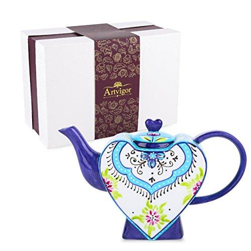 Artvigor Teiere Caffettiere Caraffe per tè e caffè in Porcellana Ceramica A Forma di Cuore Set da caffè tè per Una Persona Colori Misti Blu Azzurro 850ml