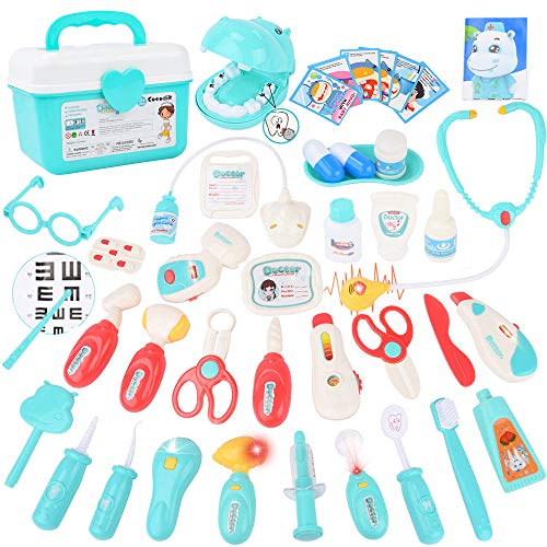 Sotodik 43 Stück Arztkoffer Medizinisches Spielzeug Doktorkoffer Spielset Kinder Rollenspiel Spielzeug,Zahnarzt Doktor Kit mit Elektronischem Stethoskop,Geschenke für ab 3 Jahre Mädchen Junge Kinder