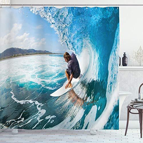 "Ambesonne Hawaiian Shower Curtain, Nautical Coastal Seashore Scene Surfing on Waves Nature Ocean Sea Sports Themed, Cloth Fabric Bathroom Decor Set with Hooks, 70"" Long, Turquoise White"