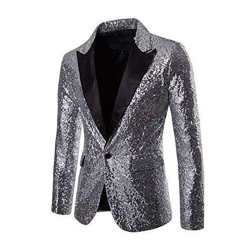 SUVIA Herren Pailletten Sakko Glitzer Smoking Jacke Shiny Pailletten Anzug für Nachtklub, Hochzeit, Partei (Silber, XL)