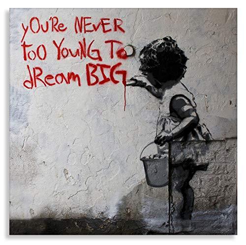Kunstdrucke auf leinwand Banksy Graffiti - Bild Dream Big Farbe ! Bild fertig auf Keilrahmen !Kunstdrucke, Wandbilder, Bilder zur Dekoration - direkt vo (60x60cm)