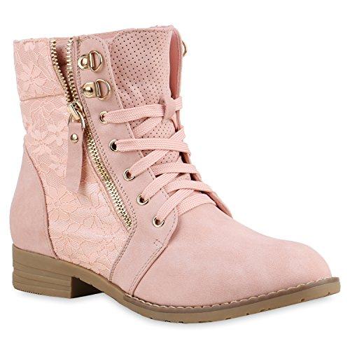 Stylische Damen Stiefeletten Worker Boots Spitze Knöchelhohe Stiefel Gesteppt Damen Leder-Optik Zipper Ketten Schuhe 134630 Rosa 39 Flandell