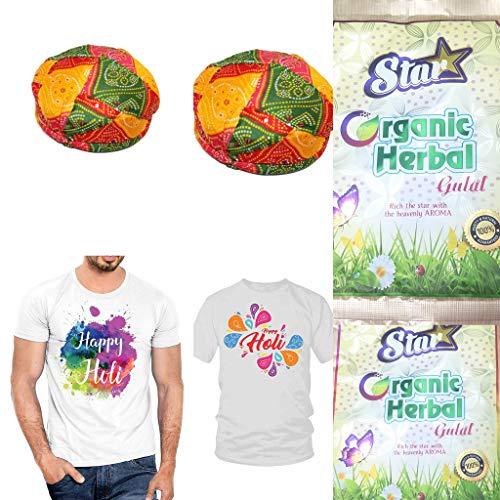 Newebit's Holi Combo - 2 Colourful Holi Turban, 2 Happy Holi Tshirt, 2 Organic Herbal Gulal (Non Toxic, Eco Friendly) (Random Colour and Design)