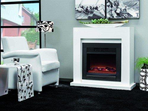 RUBY FIRES Evita eléctrico stand-chimenea max 1900 Watt con sendas tapas de llamas de grosor, 98 x 102 cm blanco